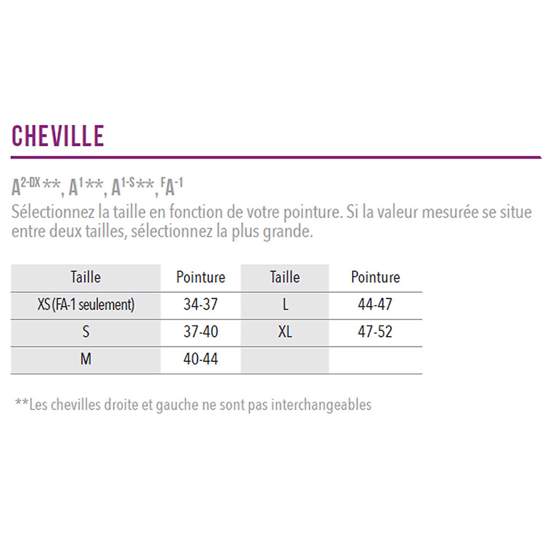 Grille des tailles chevillères Zamst A1, A1-S, FA-1, A2-Dx